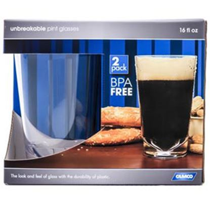 Picture of Camco  2-Pack 16 Oz Clear BPA Free Polypropylene Pint Drinking Glass 43865 03-1957