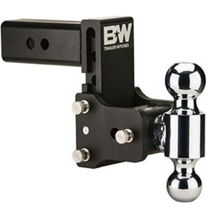 "Picture of B&W Hitches Tow & Stow (TM) Class V 2-1/2"" 14.5K 7.45"" Drop x 7.45"" Lift Triple Ball Mount TS20049B 14-1724"