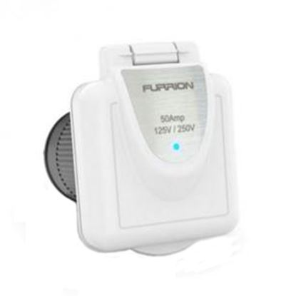 Picture of Furrion  White 125/250V 50A Outdoor Square Single Receptacle w/ Cover 381660 19-8170