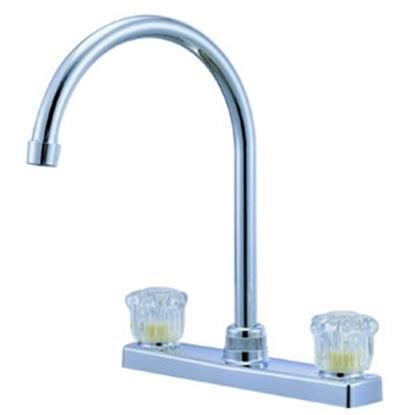 "Picture of Relaqua  Chrome w/Clear Knobs 8"" Kitchen Faucet w/Hi-Arc Spout AK-227SC 69-7063"