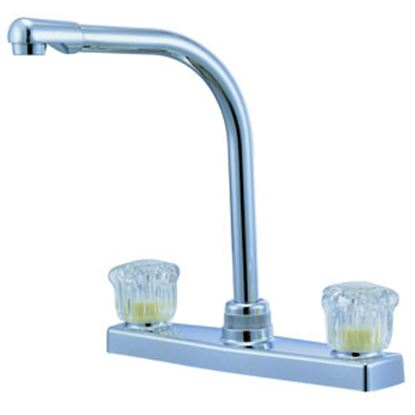 "Picture of Relaqua  Chrome w/Clear Knobs 8"" Kitchen Faucet w/Hi-Arc Spout AK-8201SH-1C 69-7066"